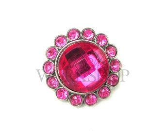 Hot Pink - Set of 3 Acrylic 23mm Rhinestone Buttons - AB-066