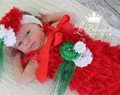 Red Christmas Peacock Lace Ruffle Petti Romper Set, Christmas Headband and Sash Set, Gift Set, Photo Prop