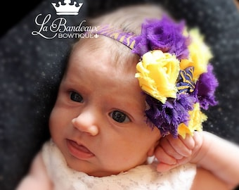 Shabby Chic LSU Tiger's Headband, Fluer de Lis Tigers Headband,  Infant Headband, Toddler Headband, Girl's Headband, Photo Prop