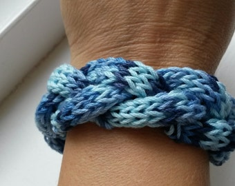 Shades of blue knitted bracelet