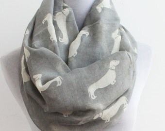 Spring Sale Gray Dog Infinity Scarf, Puppy Scarf, Dog Scarf, Dogs, Dachshunds Scarf, Dog Lover,Women's Scarves, Gift For Her, Gift Idea