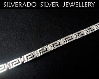 Sterling Silver 925 Ancient Greek Eternity Key Meander Bracelet 19 cm, Silver Greek Bracelet, Silber Griechische Armband, Bracelet Grecque
