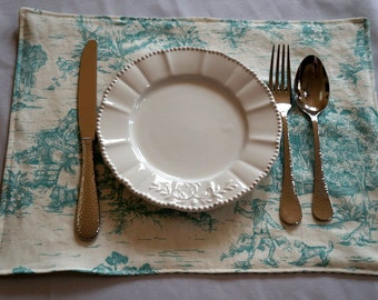 French Toile Placemat Set of 4 - AquaToile and Ticking Stripe - Victorian Placemats - Placemat Set