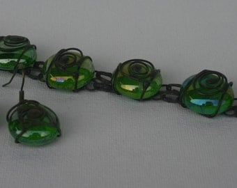 Free earings with this bracelet, stained glass bracelet.