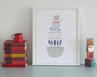 Seven stacking bowls - Original, Screenprint and monoprint in blues and greys with orange dash