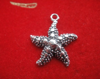925 sterling silver oxidized starfish charm 1 pc., starfish charm,starfish, silver starfish, sea life