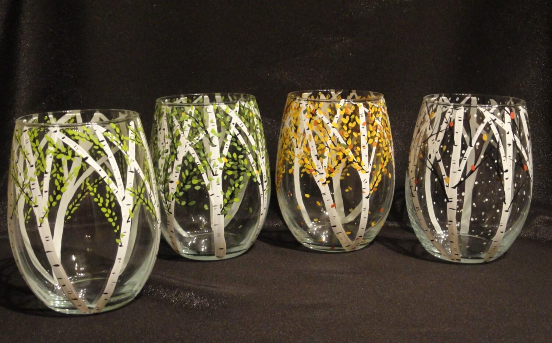 Birch tree hand painted wine juice water glasses stemless for Painted stemless wine glasses