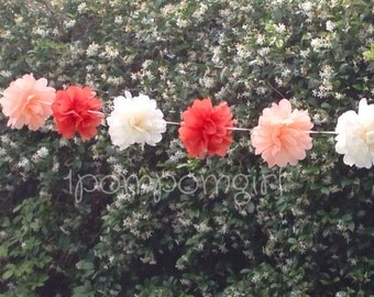 TISSUE PAPER GARLAND- Coral / birthday decor / wedding decorations / bridal shower / nursery decor / tissue poms / paper garland / pompoms