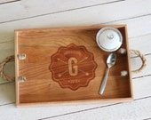 Custom Personalized Wavy Badge with Arrows Monogram Design Wood Serving Tray - Engraved Name and Rustic Handles