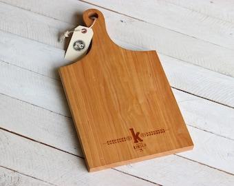 Handle Cutting Board - Modern Banner Custom Personalized Grain Design