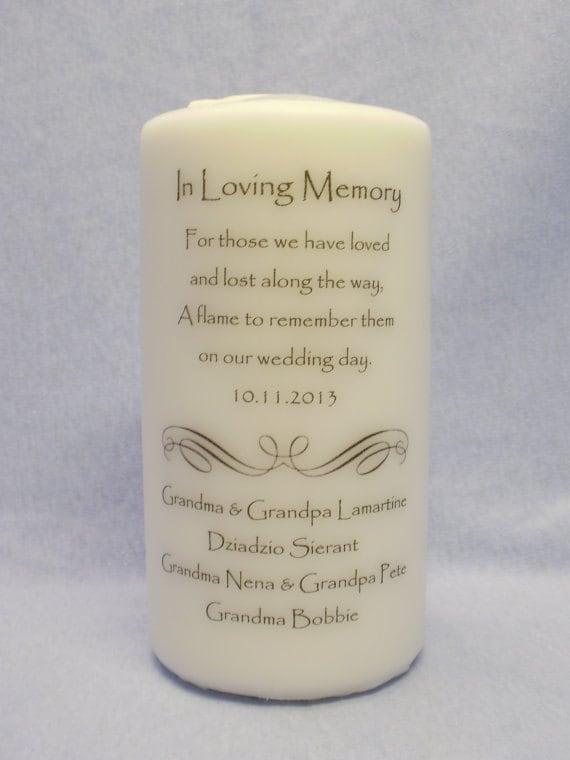 Loving Memory 6 9 or 12 Memorial Candle