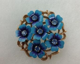 Vintage Avon Blue Flower and Gold Tone Brooch/Pendant