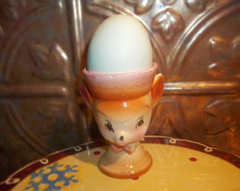 Cute Vintage Collectible  Novelty Ceramic Mouse Egg Cup