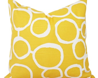 Yellow Throw Pillow Covers - Two Yellow Decorative Pillow Covers - Yellow Couch Pillows Cushion Cover - Yellow Freehand