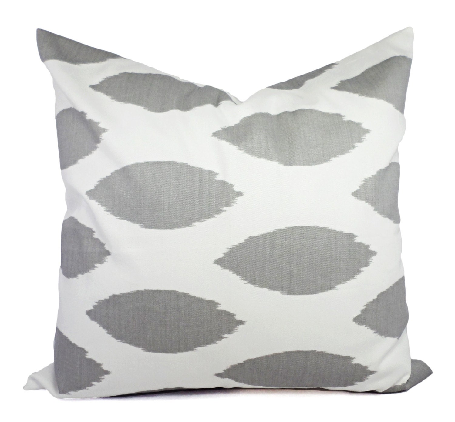 Two Decorative Throw Pillow Covers Grey and White Ikat Print