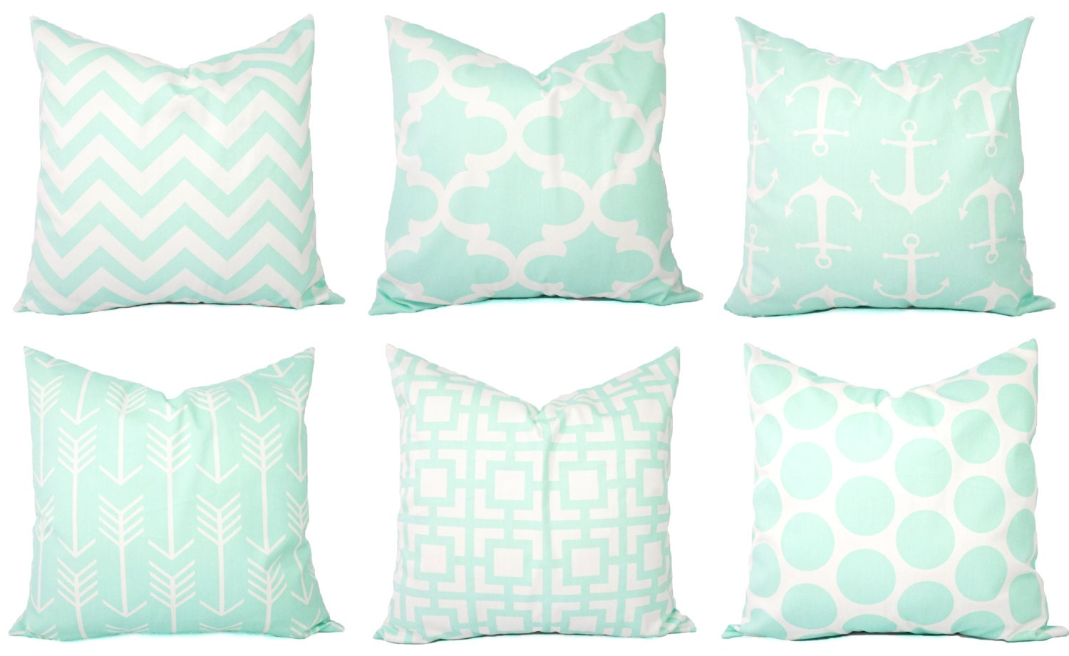 Mint Pillow Covers Mint Green and White Throw Pillows
