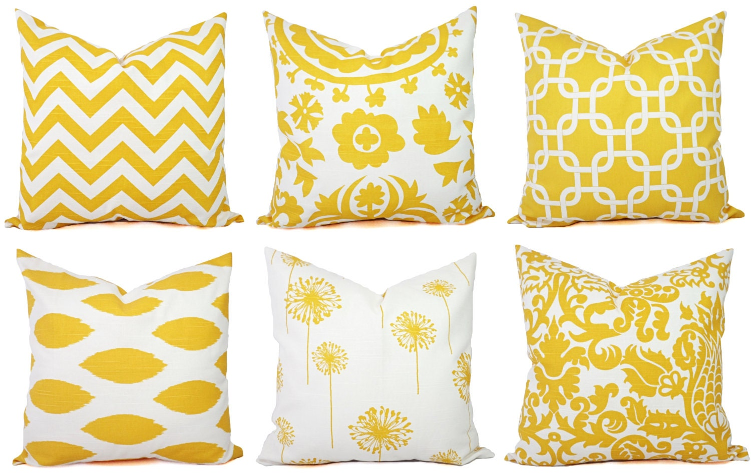 Yellow Throw Pillow Covers Yellow and White Decorative