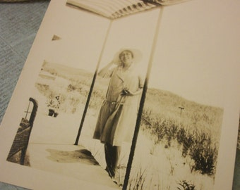 Circa Late 1920s - early 1930s Photo Reproduction of a Woman on the Porch of Her Summer Home.