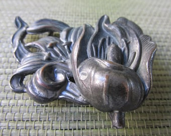Antique Art Nouveau Floral Belt Buckle