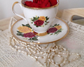Gorgeous Red And Yellow Rose demitasse coffee cup and saucer.
