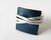 Wire wrap ring blue recycled leather customizable ring modern jewelry by SteamyLab