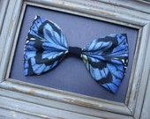 Blue Butterfly Bow, Gorgeous Over-sized Butterfly Fabric Hair Bow, Blue Butterfly Headband, Blue Butterfly Barrette, Hair Clip