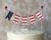 Red, White & Blue American Flag Patriotic 4th of July Cake Bunting Pennant Flag Cake Topper-Birthday, Shower Cake Topper