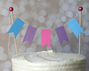 FROZEN Inspired Pink, Purple & Blue Cake Bunting Pennant Flag Cake Topper-MANY Colors to Choose From!  Birthday Cake Topper