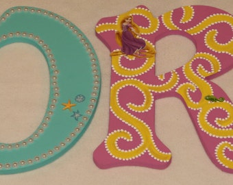 """10"""" and UNDER - Disney Princess Letter Set. Customize by Name, Colors and Characters."""