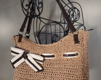 Item # P000070 Vintage Braciano Natural Jute Tote with Cream and Chocolate Ribbon  Accent Shoulder Hand Bag By God Oddities Decor on Etsy