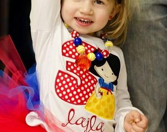 Snow White Applique Shirt- Snow White Birthday Personalized Shirt