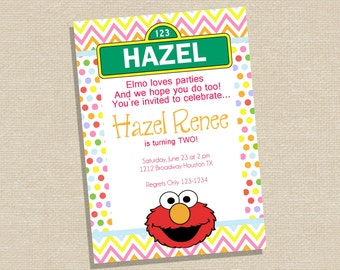Elmo Birthday Invitation - Sesame Street Invitation - Elmo Birthday Party - Sesame Street Birthday Party - Girl Elmo Invitation - Pink Elmo