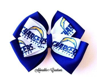 Chargers bow NFL bow football bow San Diego chargers bow sports bow team spirit bow SD chargers bow