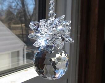 Swarovski Crystal Suncatcher, Swarovski Clear Crystal 20mm Ball With A Cluster Of Swarovski Crystal Octagons, Beaded Swarovski Bicones