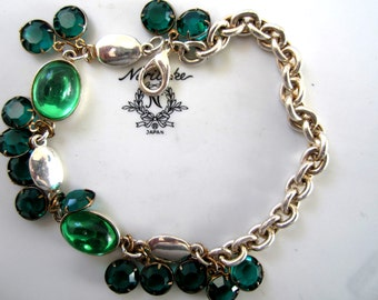 SALE* Repurposed /Upcycled Vintage Mixed Gold and Silver Tone Bracelet, Assemblage Bracelet - Emerald Green Stone Beads Crystals