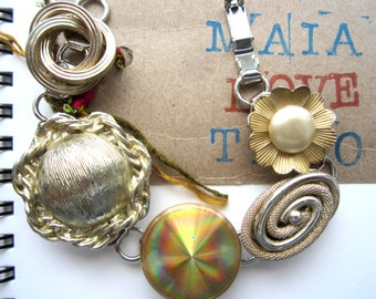 Repurposed /Upcycled Vintage Earrings in a Silver-plated Bracelet, Eco Chic Bracelet.
