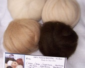 Alpaca Roving Combo Pack - 4 oz. 100% Natural White/Beige/Light Fawn & Dark Brown For Spinning, Nuno Felting or Needlefelting