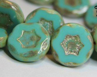 Czech Coin Star Beads Blue with Picasso Finish (6313)