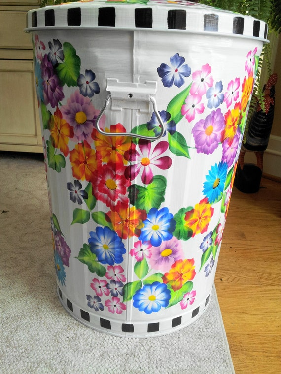 Decorative Hand Painted 20 Gallon Galvanized By