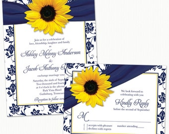 Sunflower Navy Blue Yellow Damask Floral Ribbon Wedding Invitation and RSVP Reply Card Printed