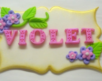 3-D Edible Fondant Name Plaque Cake Decoration