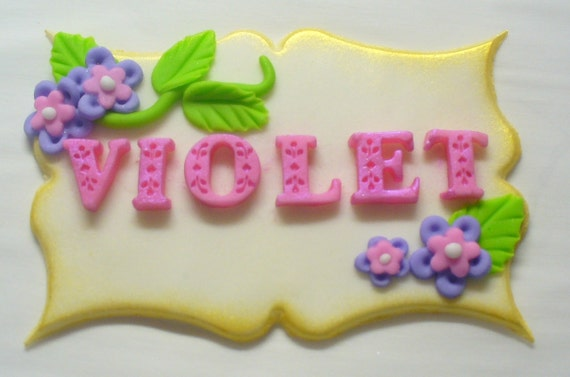 Cake Decoration With Name : 3-D Edible Fondant Name Plaque Cake Decoration