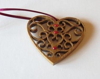 Embellished Fretwork Heart Ornament