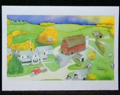 Down on the Farm Watercolor Painting Notecard - Greeting Card - Blank Notecard - Gift Card - Invitation - Thank You Card - Art Card