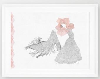 Spanish Dancer, Flamenco  illustration, line art, print of orginal drawing