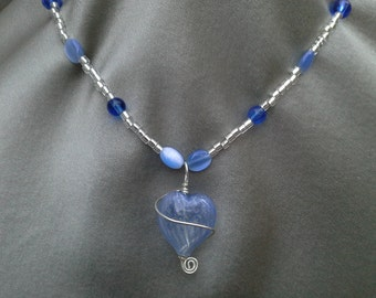 Hand Blown Blue Glass Necklace  Vintage Jewelry Vintage Necklace