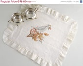 ON SALE Handpainted Linen Placemat - Painted bird Table Placemat, ready to ship