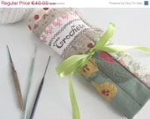 ON SALE Crochet Hook Case - Vintage Silk  Holder, ready to ship