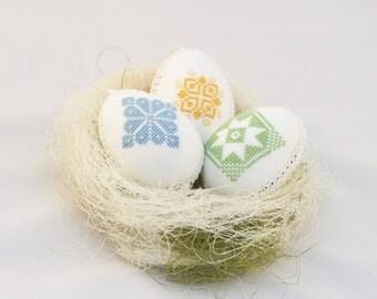 Easter decor egg set of  3  linen with cross stitch ornament handmade