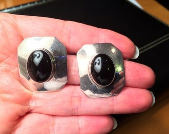 Carol Felley Black Onyx and Sterling Silver Earrings